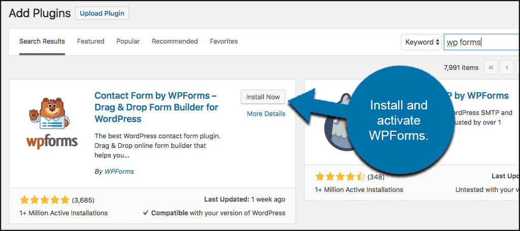Install and activate wp forms plugin