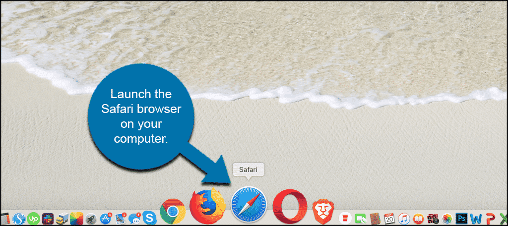 Launch safari browser on your computer