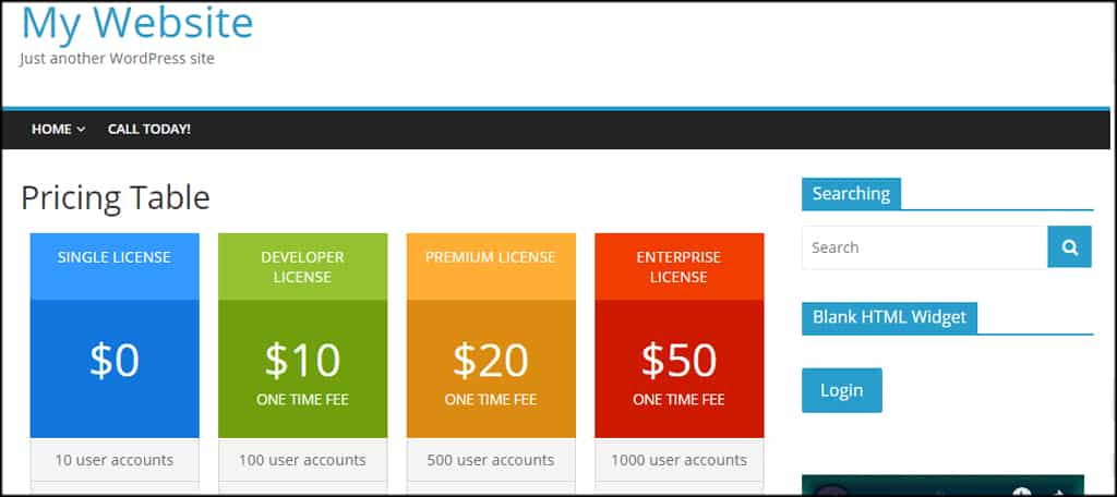 Live Pricing Table