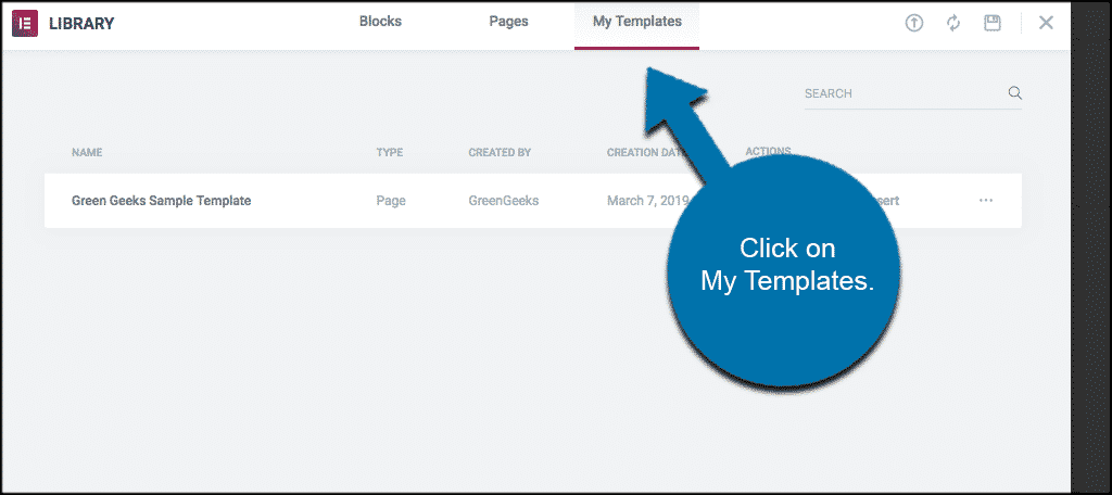 Click on my templates in elementor