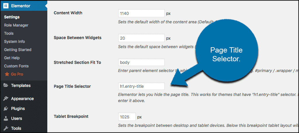 Page title selector