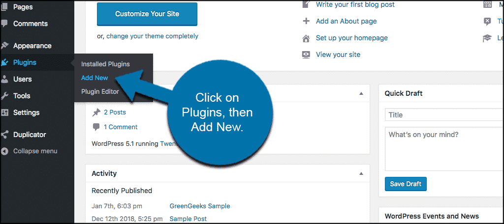 Click on plugins then add new