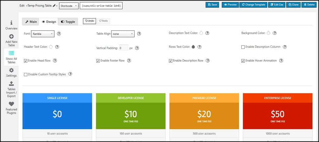 Pricing Table Designs