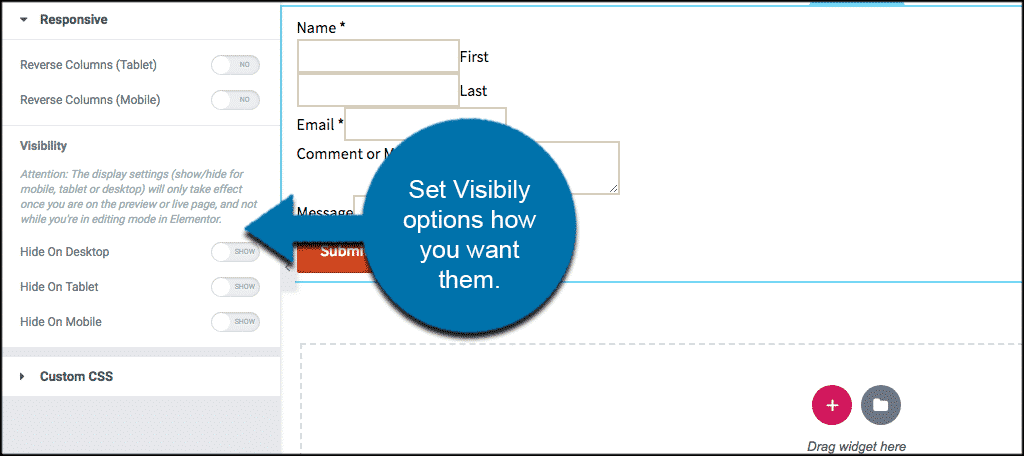 Set visibility options how you want them