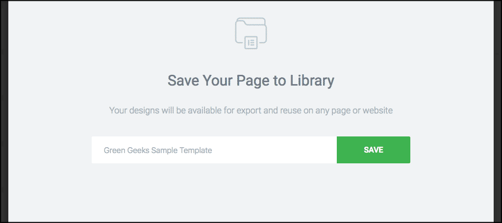 Give your elementor page template a name and save it