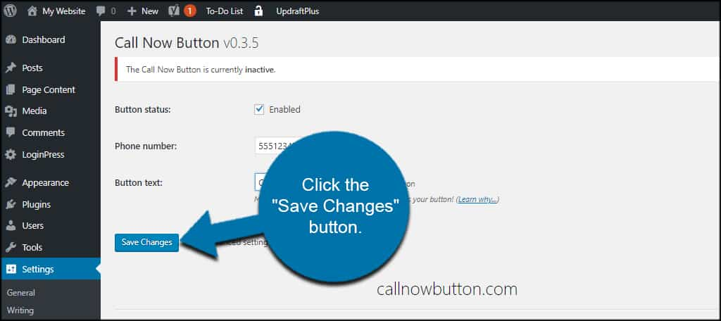 Save Call Button Settings