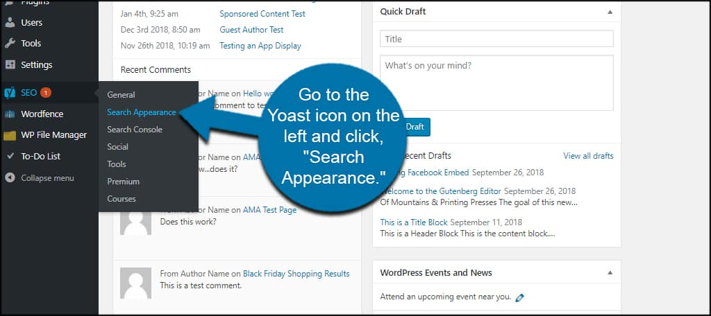 Search Appearance Yoast