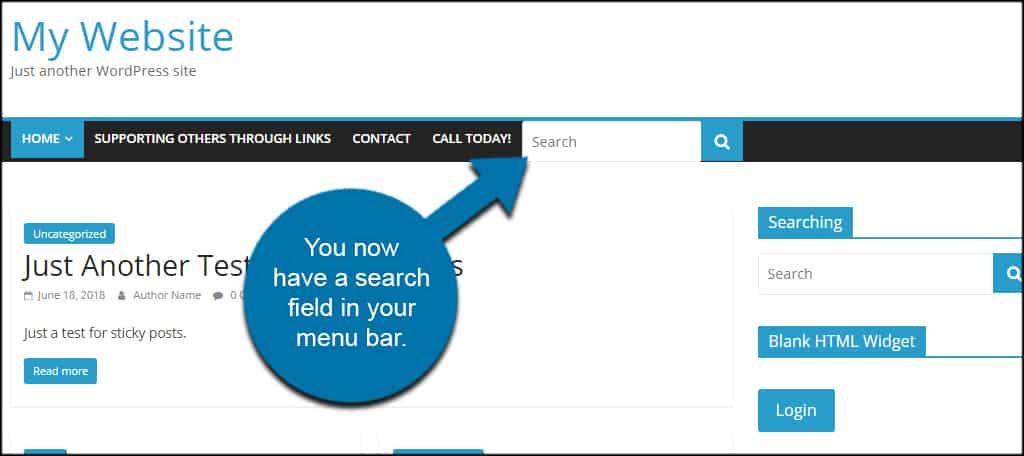 Search Menu Nav Bar