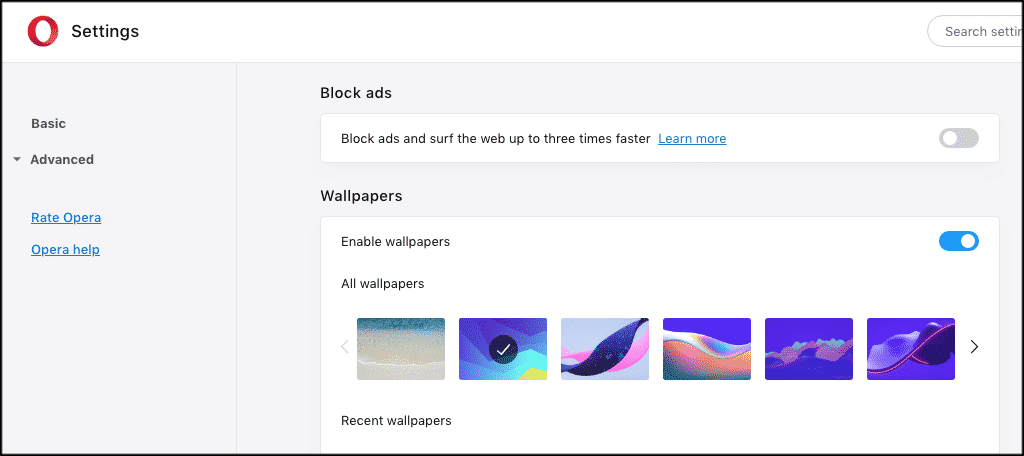 Turn opera ad blocker on or off from here
