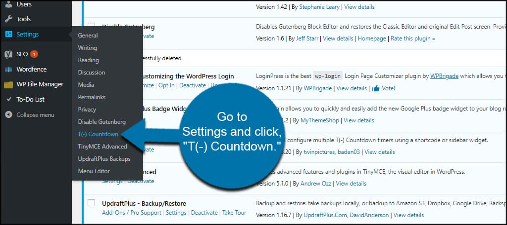 T Countdown Settings
