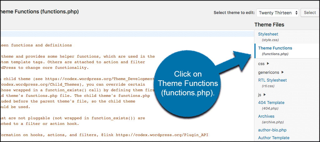 Click on the theme functions functions php tab to access file