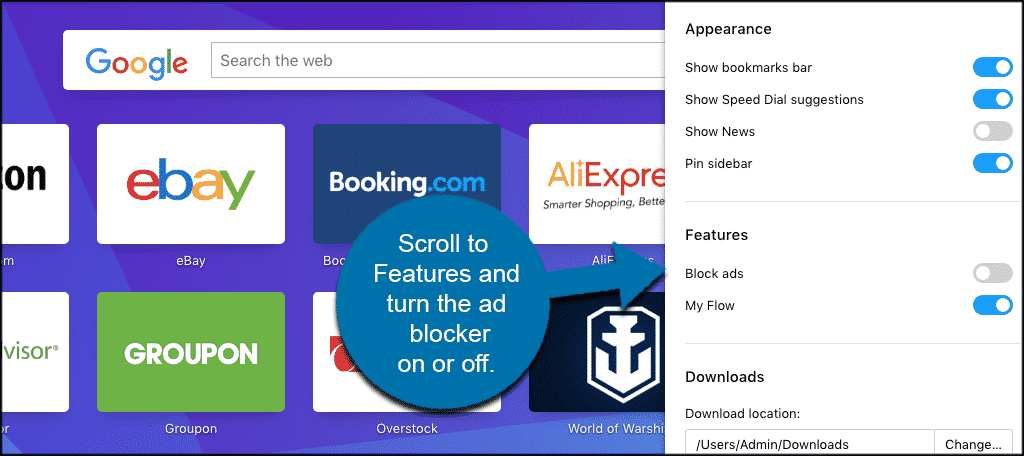 Scroll to features and turn ad blocker on or off