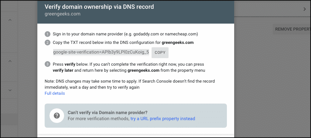 Verify domain ownership code