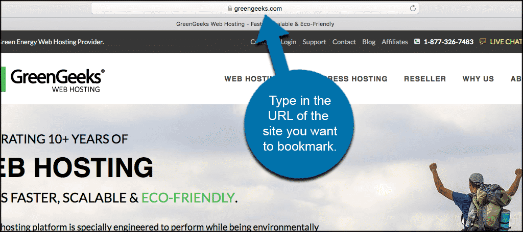 Type in the URL of the site you want to bookmark.