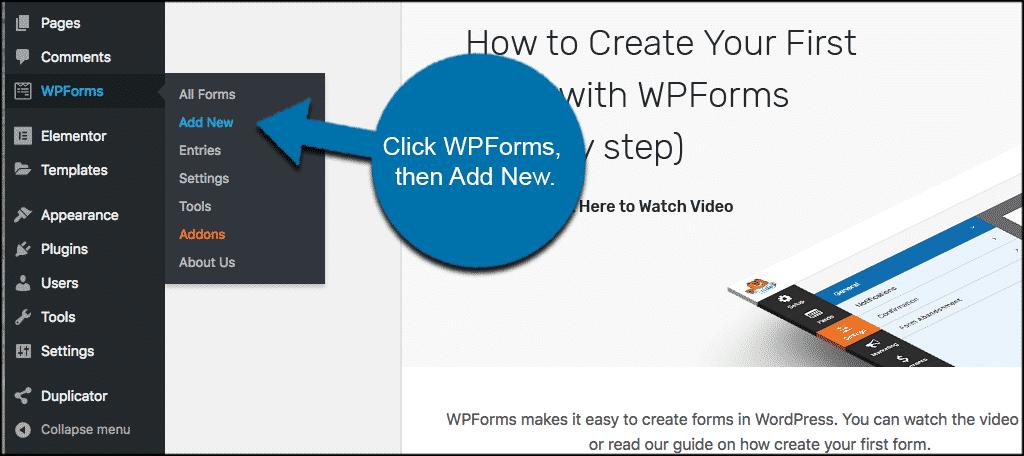 Click wpforms then add new