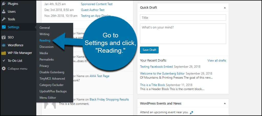 WordPress Reading
