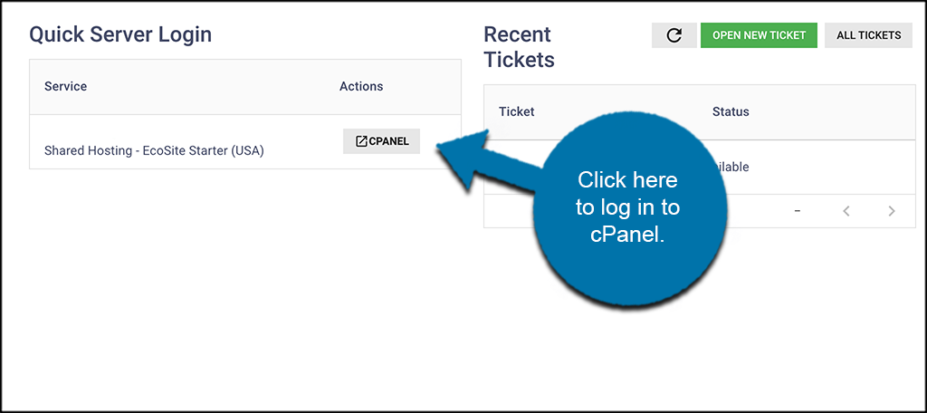 cPanel login button