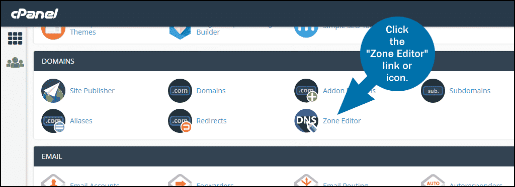 cPanel select section DOMAINS Zone Editor