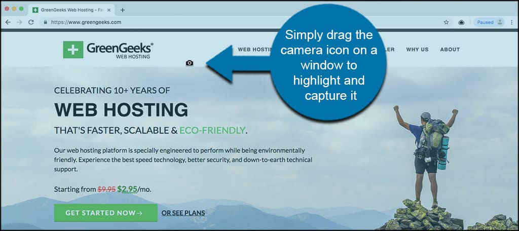 Simply drag the camera icon on a window to highlight and capture it
