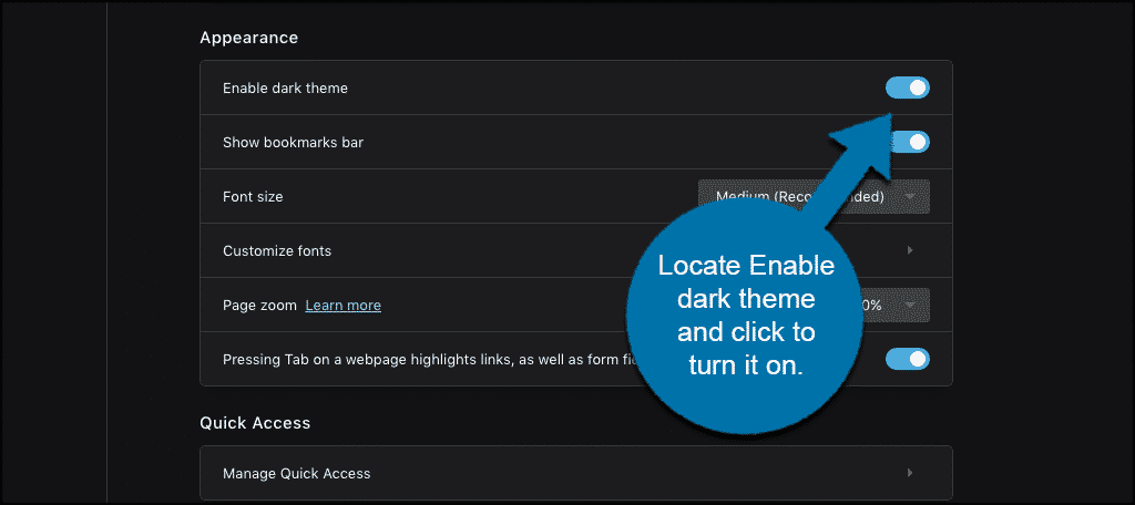 Locate enable dark theme and turn it on