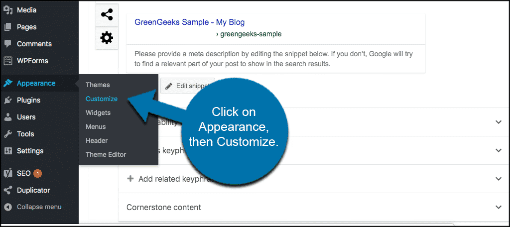 Click appearance then customize