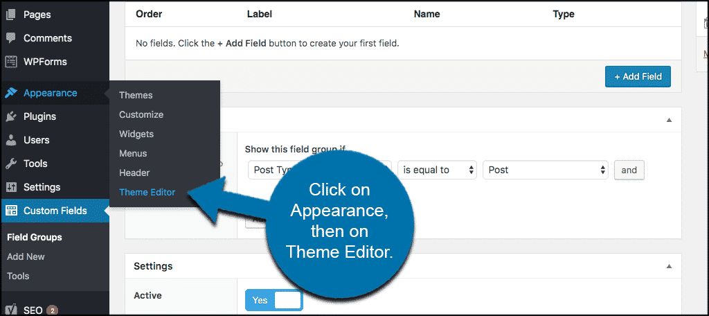 Click on appearance then on theme editor