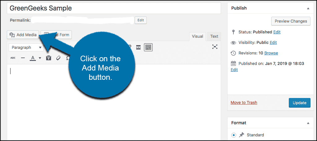 Click on the add media button in the wordpress classic editor