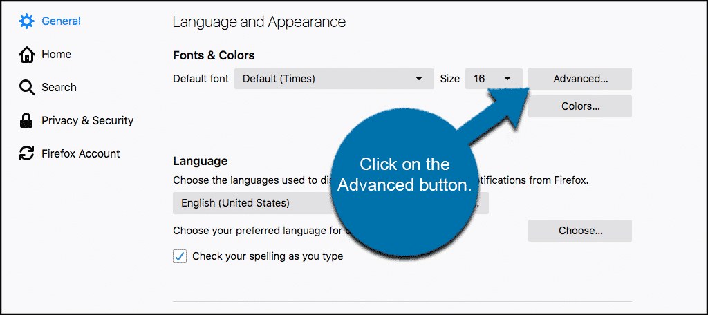 Click on the advanced button