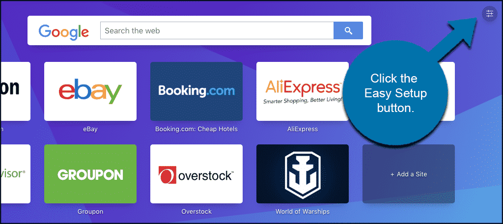 Click the easy setup button on opera homepage