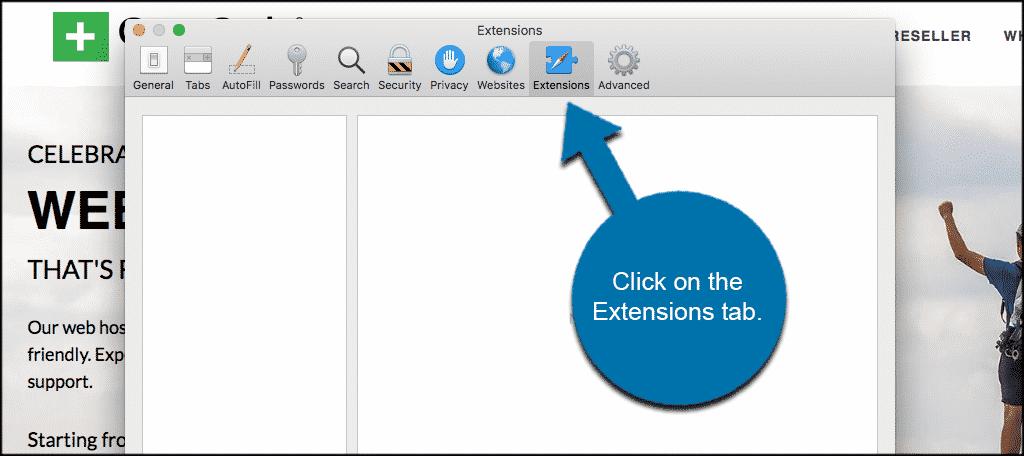 Click on the extensions tab in safari preferences to help remove adware in Safari