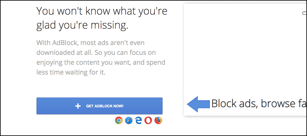 Click on the blue get adblock now button