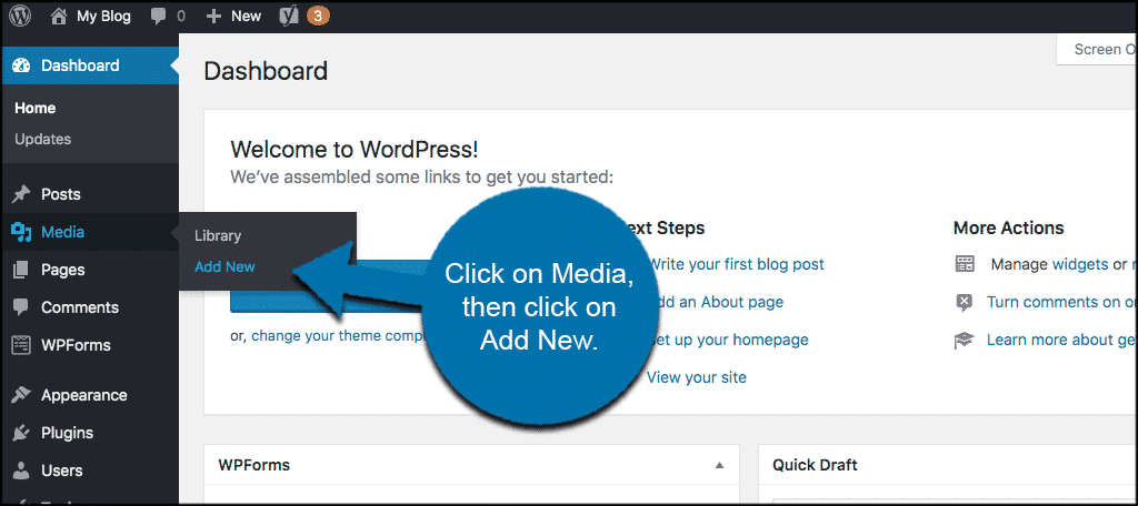 Click on media then click on add new in wordpress admin dashboard