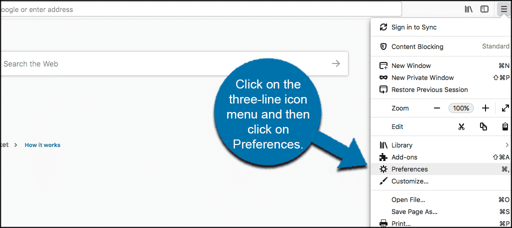 Click on the three line icon menu then click on preferences in firefox browser