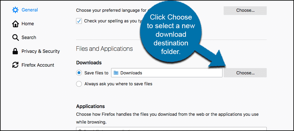 Click on choose to select a new download destination folder