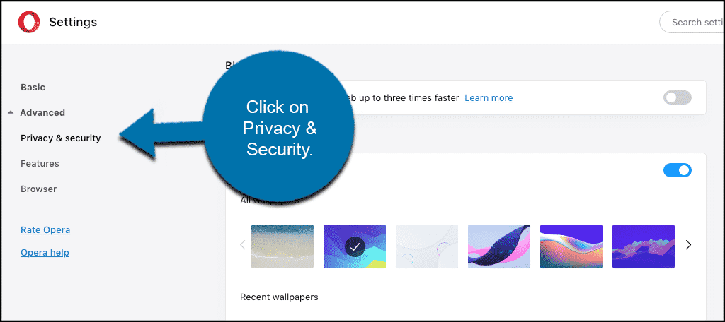 Click privacy and security tab