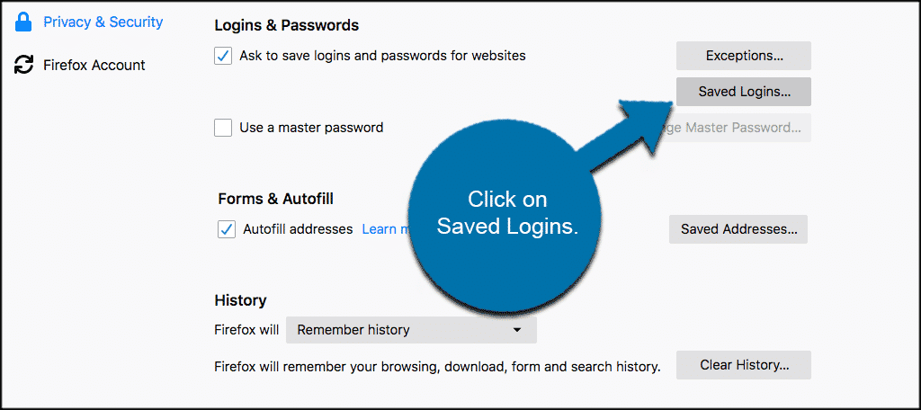 Click on saved logins