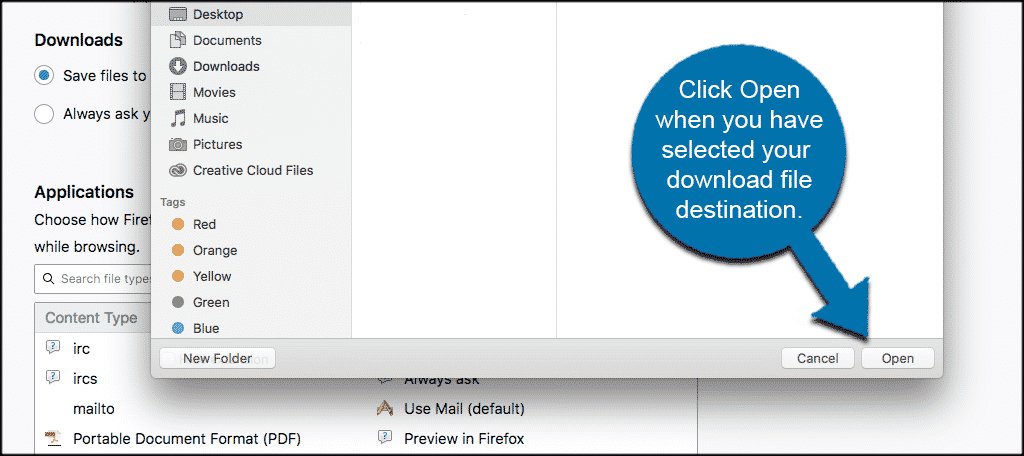 Click Open when you have selected your download file destination.