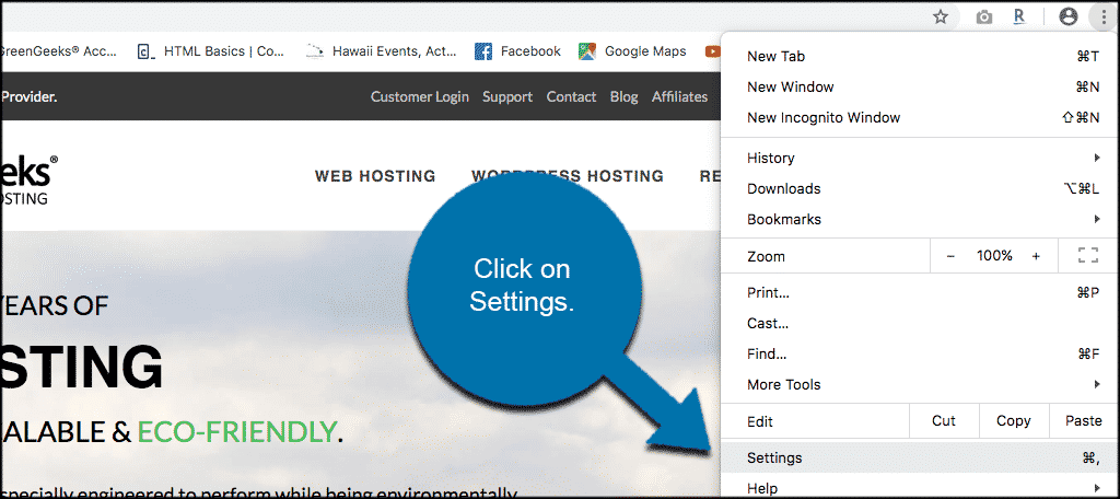 Click the settings option from the three dot chrome menu