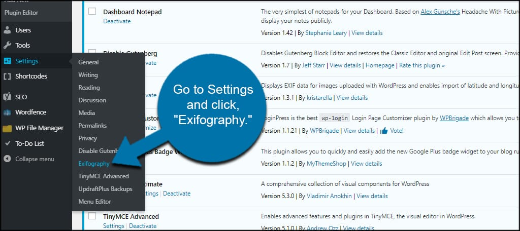 Exifography Settings