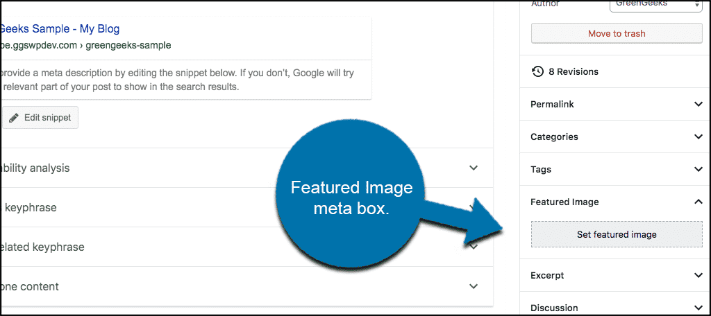 Featured image meta box