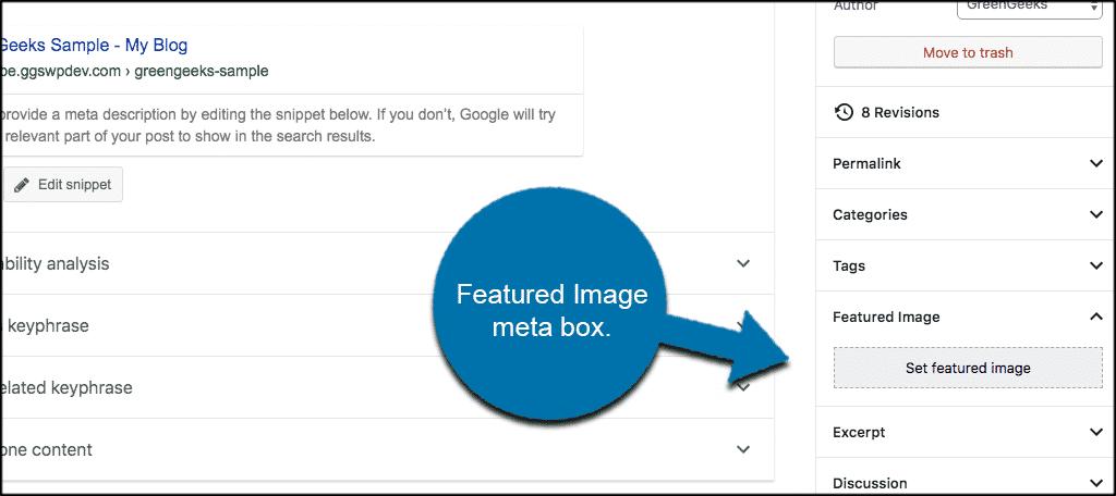Featured image meta box