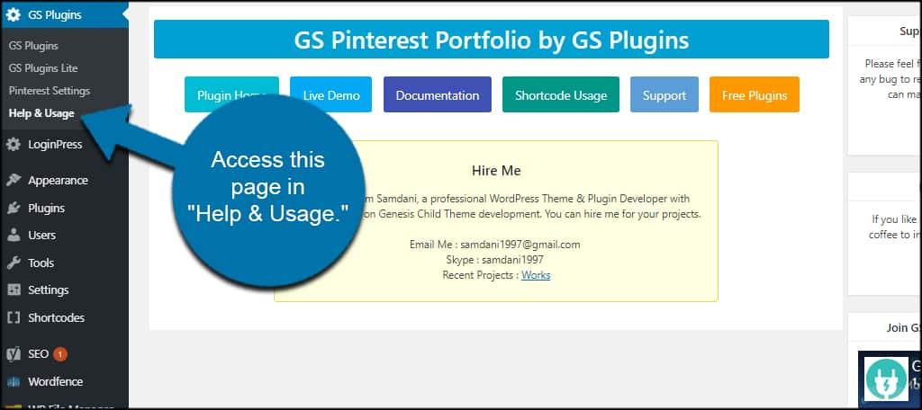 GS Pinterest Help Usage