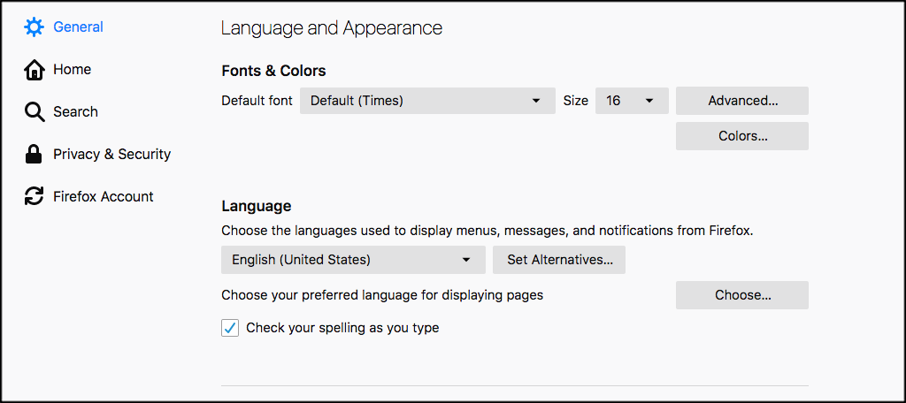 Scroll down to the fonts and language area of firefox settings