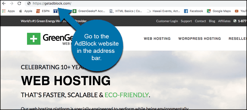 Go to the adblock website in the address bar