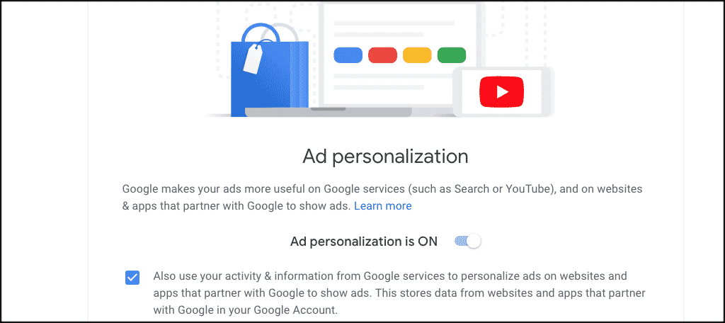Go to the google ad personalization page