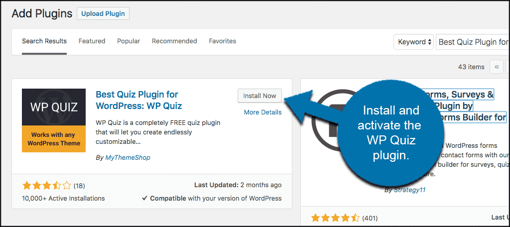 Install and activate the wp quiz plugin