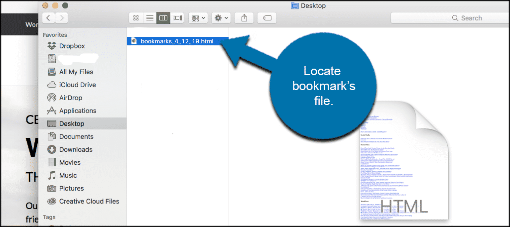 Locate your bookmarks file wherever you previously saved it