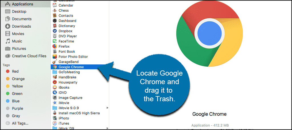 Locate google chrome and drag it to the trash to uninstall it