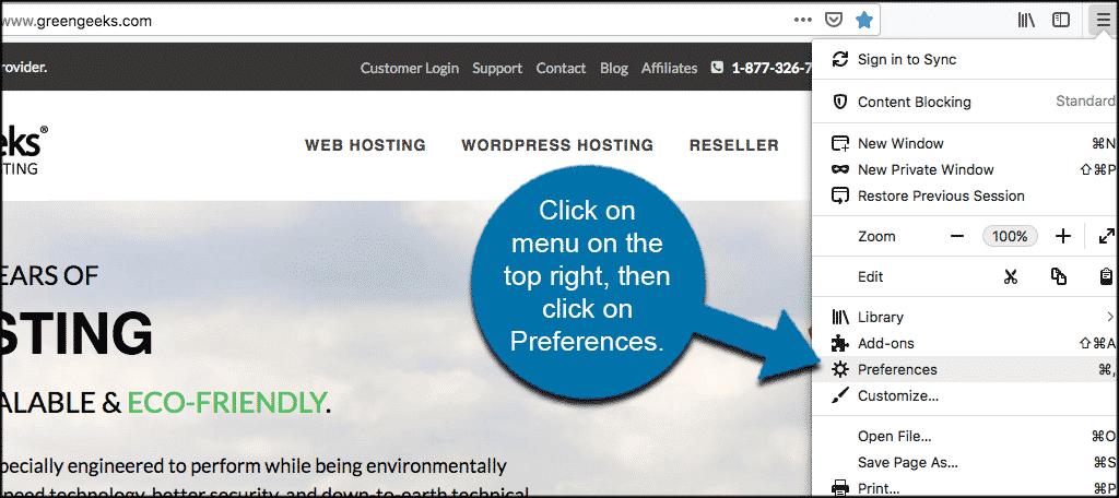 Click on menu then preferences