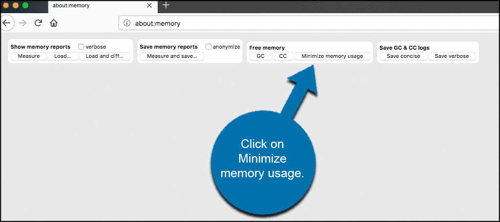 Click on minimize memory usage